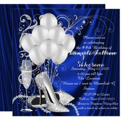 Womans Royal Blue and Silver Birthday Party Luxe Invitation ,