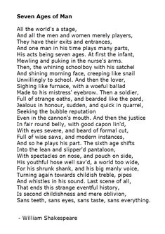 Seven Ages of Man - William Shakespeare Will poetry be poetry if you were not there..WS?