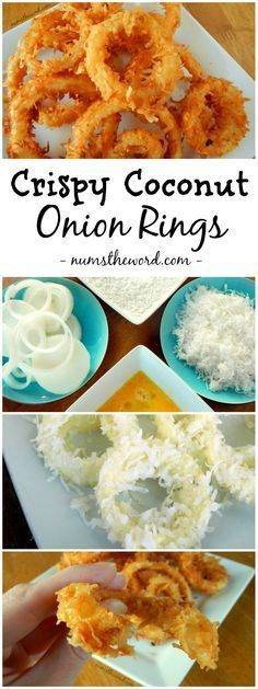 If you love coconut, check out this easy and delicious recipe for Crispy Coconut Onion Rings. Naturally Gluten Free and oh so tasty! I made these and they are amazing. I no longer need to miss onion rings! Coconut Recipes, Gluten Free Recipes, Low Carb Recipes, Vegetarian Recipes, Cooking Recipes, Healthy Recipes, Beef Recipes, Easy Recipes, Chicken Recipes