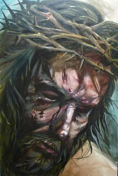 'Jesus Brutalized' painting by Damon Conklin