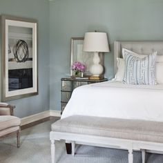 Bedroom Blue Gray Paint | Sherwin Williams Silver Mist