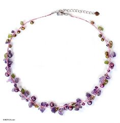Pearl and amethyst strand necklace, 'Tropical Elite' - Amethyst and Peridot Necklace Handmade in Thailand: Jewelry