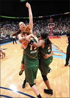Sue Bird, Lauren Jackson, and Swin Cash hug right after the final buzzer in Game 3 of the Championship Game in Atlanta!!!