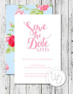 Floral save the date by Wentroth Designs. Visit www.wentrothdesigns.com for more and to request pricing!