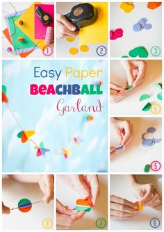 Easy Paper Beachball Garland and Pool Party Placecards
