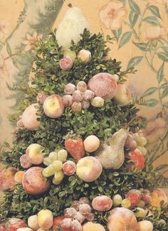 Colonial Williamsburg Style Centerpiece, fruit dusted with sugar, would be beautiful for Thanksgiving or Christmas