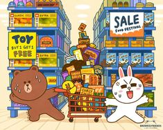 BROWN PIC is where you can find all the character GIFs, pics and free wallpapers of LINE friends. Come and meet Brown, Cony, Choco, Sally and other friends! Cony Brown, Brown Bear, Bear Gif, Supermarket, Cute Emoji Wallpaper, Cute Couple Cartoon, Cute Love Gif, Brown Line, Line Friends