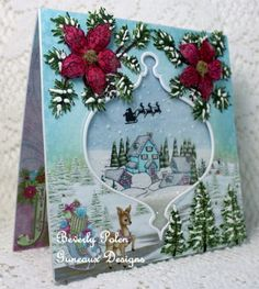 Heartfelt Creations Merry and Bright Collection Shaker Card - Mrs. Robin (Stamperrobin) on Splitcoaststampers (SCS) provided an awesome challenge for today's. Homemade Christmas Cards, Christmas Cards To Make, Christmas Greeting Cards, Homemade Cards, Holiday Cards, Christmas Punch, Christmas Trees, Christmas Crafts, Spellbinders Christmas Cards
