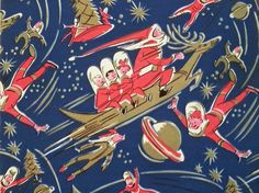 Check out this really fun era Christmas wrapping paper! Christmas on the moon! Im going to eventually patte. Vintage Christmas Wrapping Paper, Retro Christmas Decorations, Vintage Holiday, Vintage Gifts, Vintage Cards, Vintage Paper, Holiday Fun, Holiday Ideas, What Is Christmas