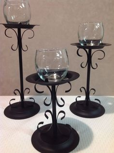 Set of 3 Home Interiors Black Scroll Wrought Iron Candle Holders Pillar…
