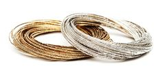 Rishi Bangle, fifty linked wire bangles in either gold or silver