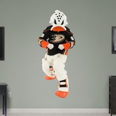 Anaheim Ducks Mascot - Wild Wing REAL.BIG. Fathead – Peel & Stick Wall Graphic | Anaheim Ducks Wall Decal | Sports Home Decor | Hockey Bedroom/Man Cave/Nursery