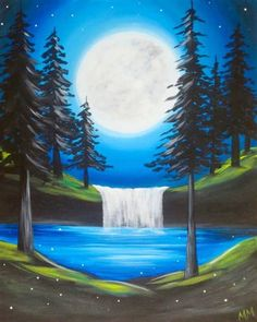 Moon and forest waterfall, beginner canvas painting. Wine and Canvas