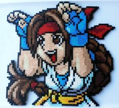 Large Yuri (King of Fighters) perler beads by Nerd Melt
