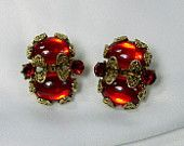 Vintage Hollycraft Earrings Red Rhinestone Cabochon Glass Antiqued Gold Tone Filigree Clip On Signed