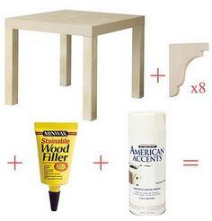 Ikea Lack table + corbels =   http://signedbytina.blogspot.com/2013/02/ikea-hack.html