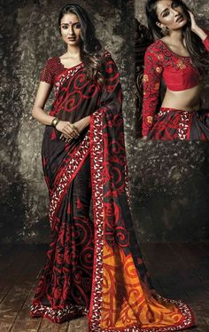 Picture of Deep Orange and Black Color Saree With Beautiful Fancy Pallu