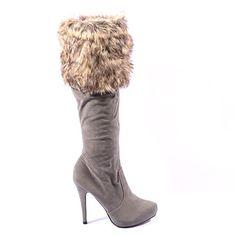 CIZME GRI FLUFFY STYLE  159,0 LEI Lei, Boots, Heels, Fashion, Crotch Boots, Heel, Moda, Fashion Styles, Shoe Boot
