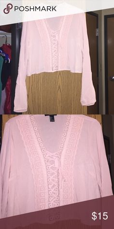 NWOT Long Sleeved Crop Top Light pink with lace and tie up detailing. Never worn. Forever 21 Tops