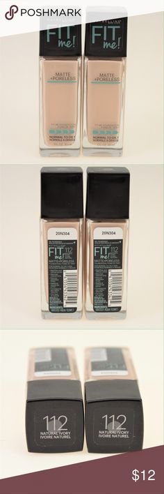 Maybelline Fit Me! Foundation Natural Ivory Get the matte, poreless finish look with this foundation meant for normal to oily skin types. The shade is 112 Natural Ivory. This set comes with two bottles that are both brand new and never swatched. Maybelline Makeup Foundation