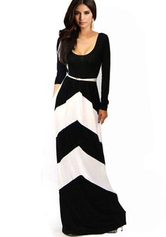 Black-White Geometric Belt Square Neck Dress