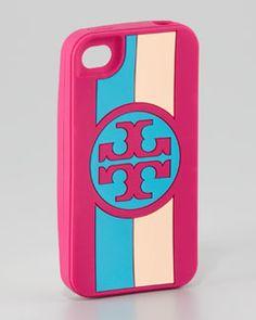 90b2a137b5c Tory Burch Roslyn Logo Striped iPhone 4 Case Pink Iphone
