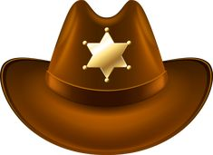 Cowboy Hat with Sheriff Badge Transparent PNG Clip Art Image Cowboy Birthday Party, Cowboy Party, Festa Toy Store, Sheriff Badge, Wyatt Earp, Fashion Clipart, Free Clipart Images, Big Yellow, Cowboys