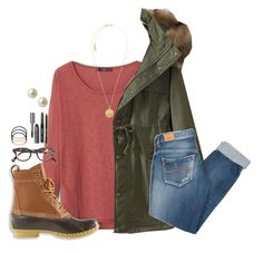 """""""Similar to my OOTD yesterday"""" by madison426 ❤ liked on Polyvore featuring MANGO, Pepe Jeans London, L.L.Bean, Michael Kors, J.Crew, BP., Bobbi Brown Cosmetics and Carolee"""