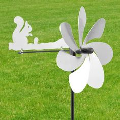 Flugzeug-Eichhoernchen-Windspiel-Edelstahl-Windmuehle-Windrad-Gartenstecker