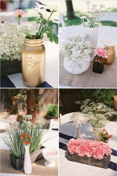 Gold mason jars and milk glass vases make for some fabulously shabby chic centerpieces. Captured By: Stephanie Hunter Photography --- http://www.weddingchicks.com/2014/06/11/a-couple-shower-bursting-with-wc-free-printables/