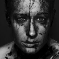 Mirror of the Soul, female, powerful face, intense eyes, hurt, pain, emotional, beauty, portrait, b/w