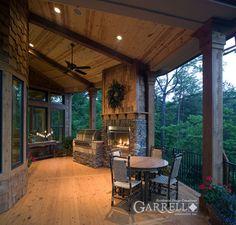 Outdoor fireplace - Lakeview Cottage 05357, Garrell Associates