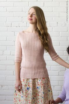 Seawillow by Amy Herzog ($7.00) This pullover is worked in pieces from the bottom up then sewn together. It features elbow-length sleeves, a boat neckline, and a simple stitch pattern panel on the front. The waist is shaped with vertical darts. The stitch pattern is presented in both chart form and row-by-row instructions.