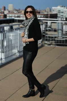 Black sweater, black faux leather leggings, black ankle boots, leopard print scarf outfit