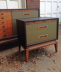 Midcentury replica hand painted dresser and by BlackSheepMill, $395.00