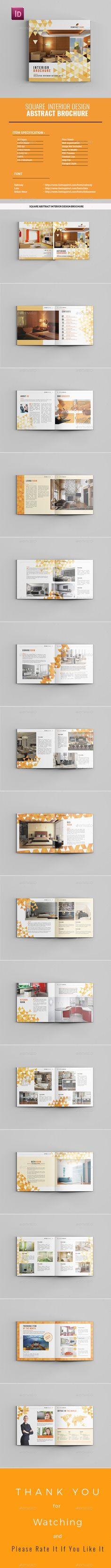 Square Abstract Interior Design Brochure Template InDesign INDD