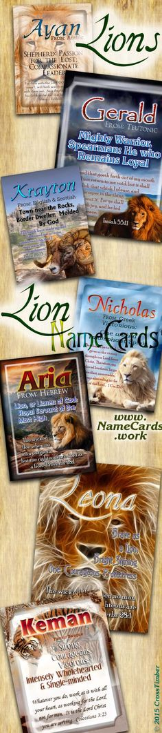 Name Meaning Cards with Bold, Regal Lions and Tigers. Personalize for just $3.99