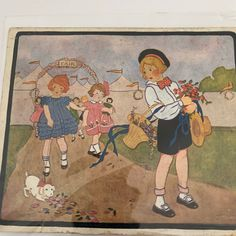 Excited to share this item from my shop: Oh Dear What Can The Matter Be?, Little Tots Nursery Tunes, Signed by the artist, Maude Trube. Dated Vintage Ephemera, Vintage Ephemera, Vintage Cards, Womans Weekly, Blue Fabric, French Vintage, Vintage Ladies, Nursery, Embroidery, Artist