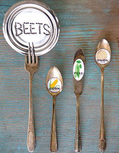 Here's a cute idea for marking your garden rows. Gather large vintage spoons (forage at your local thrift store) and decoupage on artwork, depicting each veggie or herb, using Outdoor Mod Podge.  Get the kids involved drawing or coloring for unique keepsake designs—they'll take an interest in gardening and have one more reason to love their veggies. Or, take a tin-can lid and, using a nail, punch holes to spell plant names, then display with a vintage fork.