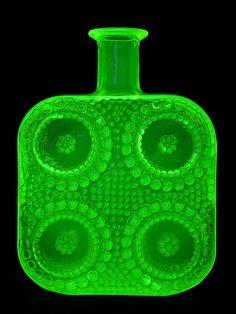 "Riihimaki ""Grapponia"" vaseline glass bottle designed by Nanny Still under UV light by art-of-glass, Green Glass Bottles, Bottles And Jars, Perfume Bottles, Bottle Design, Glass Design, Art Of Glass, Vaseline Glass, Vintage Perfume, Vintage Bottles"