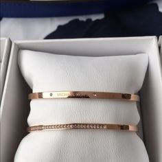 NWT- Michael Kors Rose Gold Cuff Set with Crystals. No Trades