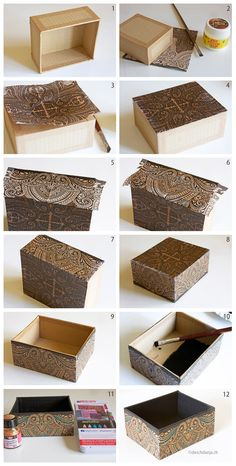 How to decorate a cardboard box with napkin technique, www.deschdanja.ch