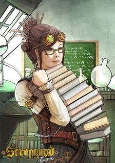 """Prof. Luna Tech is a brilliant and eccentric scientist, who was dumped by Tesla for being """"too weird."""" You can play her character in Scrapyard Empire - http://www.scrapyardempire.com #steampunkgirls #steampunkgame #steampunkgoggles"""