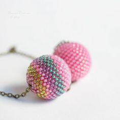 Big+Bubble+Gum+Pink+Stripes+Necklace+Cople+Beaded+by+SarahRobinL,+€22.00