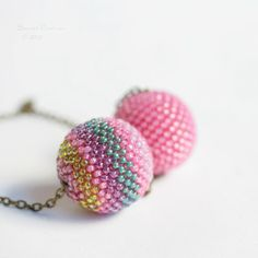 Big Bubble Gum Pink Stripes Necklace Cople Beaded by SarahRobinL, $41.00