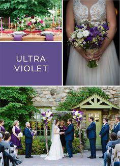 Here's how former clients have incorporated Pantone's 2018 color of year, ultra violet, into their weddings. Willowdale Estate, a weddings and evetns venue in New England. WillowdaleEstate.com