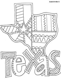 Texas Coloring Page By Doodle Art Alley