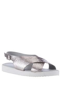Metallic Cross Strap Sandals