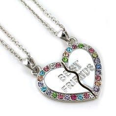 Best Friends Forever BFF 2 Piece Break Apart Heart Rhinestone Necklace ,heart necklace for best friends .