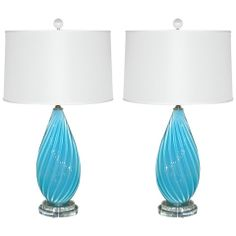 Pair of Malibu Blue Vintage Murano Lamps by Archimede Seguso